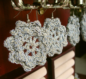 Rosettes No. 1, Crocheted Earrings