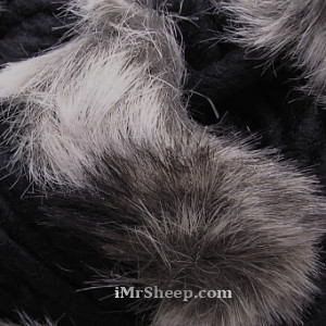 KATIA EVITA MERINO [70% Virgin Merino Wool, 30% Synthetic Fur], Wool-Faux Fur Mix, col 42 Black with Speckled Grey Fur